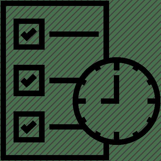 Checklist, clock, list, memo, task icon