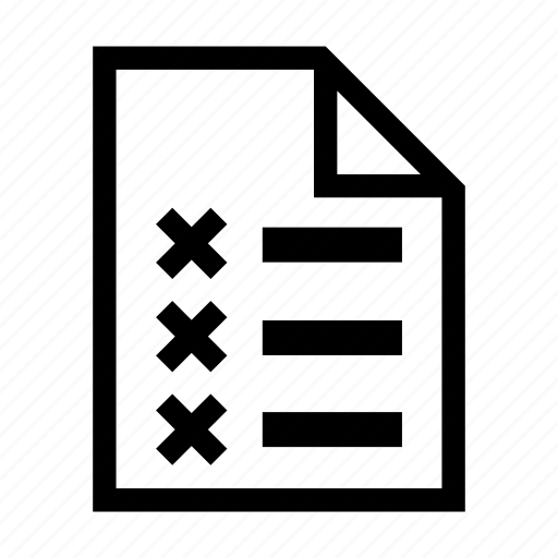 Bad, checklist, document, file, list, tick, wrong icon