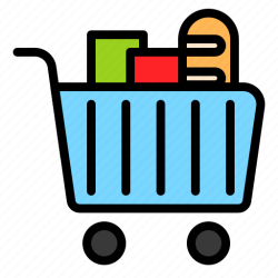 grocery icon supermarket shopping cart icons editor filled open
