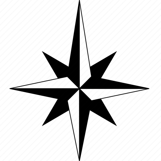 Arrow, compass, north, point, solid, star icon