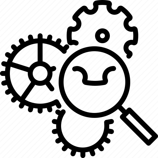 Functional analysis, gear, programming, usability icon