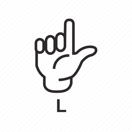 Alphabet, deaf, hand, l, language, letter, sign icon