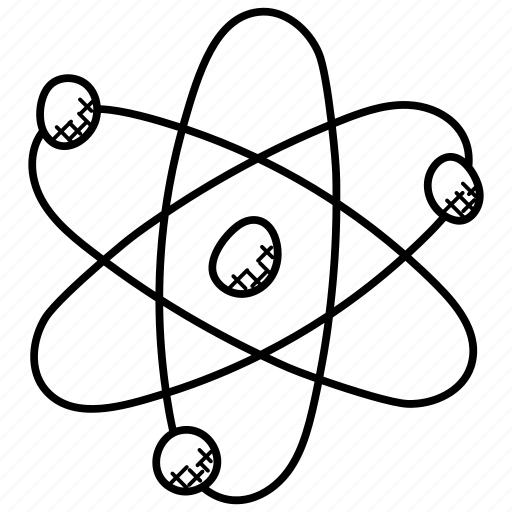 Atom, atom symbol, atomic energy, nuclear sign icon