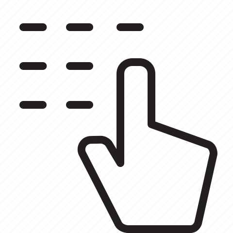 Call, hand, line, number, pointer icon