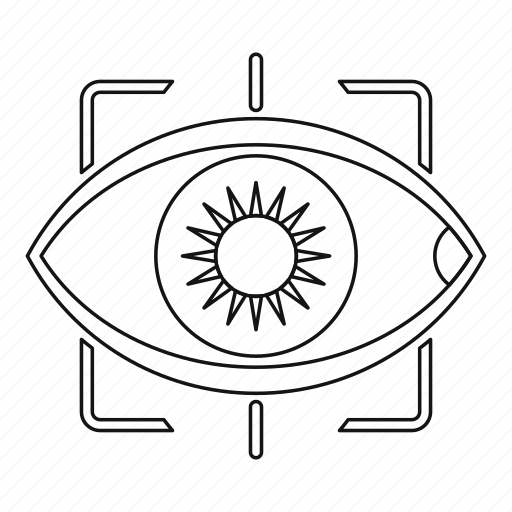 Camera, eye, line, outline, see, thin, vision icon