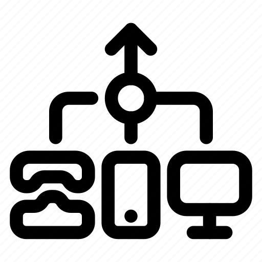 Channel, cross, omnichannel, organization, system icon