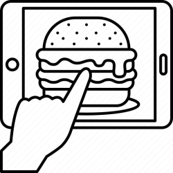 Online hamburger food delivery restaurant icon