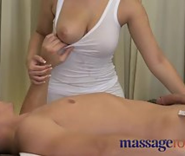 Sexy Busty Therapist Gets Squeezed And Suckled By Hunky Dude On Massage Bed