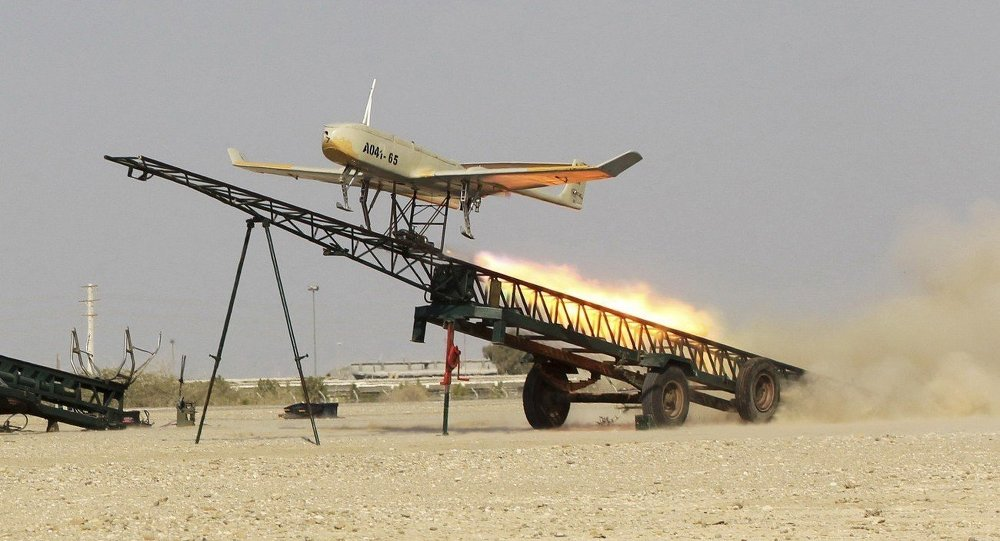 An Iranian made drone is launched during a military drill