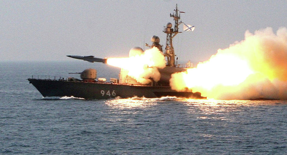 Moskit supersonic anti-ship missile is launched from a missile boat during a training exercise for guard missile boats and artillery exercises held in the Sea of Japan