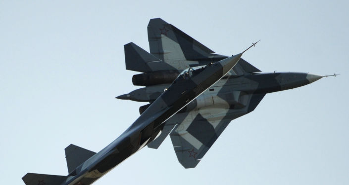 Russian first stealth fighters T-50 performs during MAKS-2011, the International Aviation and Space Show, in Zhukovsky, outside Moscow, on August 17, 2011.