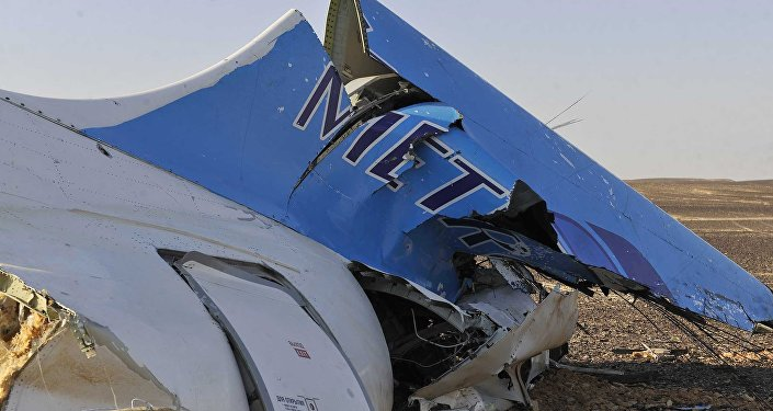 This image released by the Prime Minister's office shows the tail of a Metrojet plane that crashed in Hassana Egypt, Friday, Oct. 31, 2015