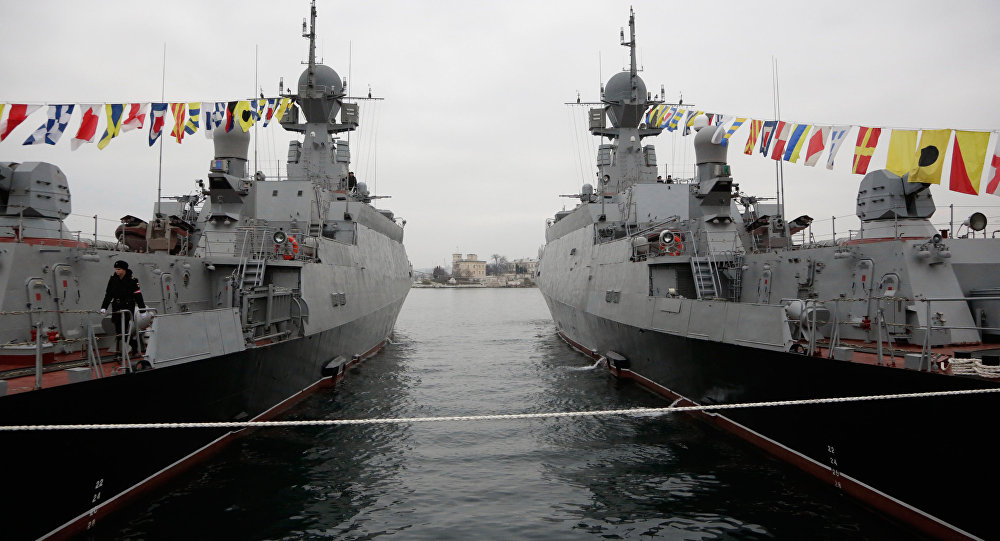 The 'Zelyoniy Dol' (left) and 'Serpukhov' warships, equipped with the versatile 'Kalibr-NK' missile system, have joined the Russian Black Sea Fleet, based in Sevastopol