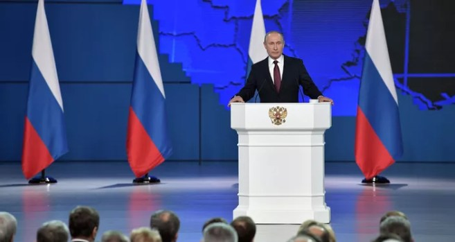 Vladimir Putin delivers his annual address to the Federal Assembly, 20 February 2019.