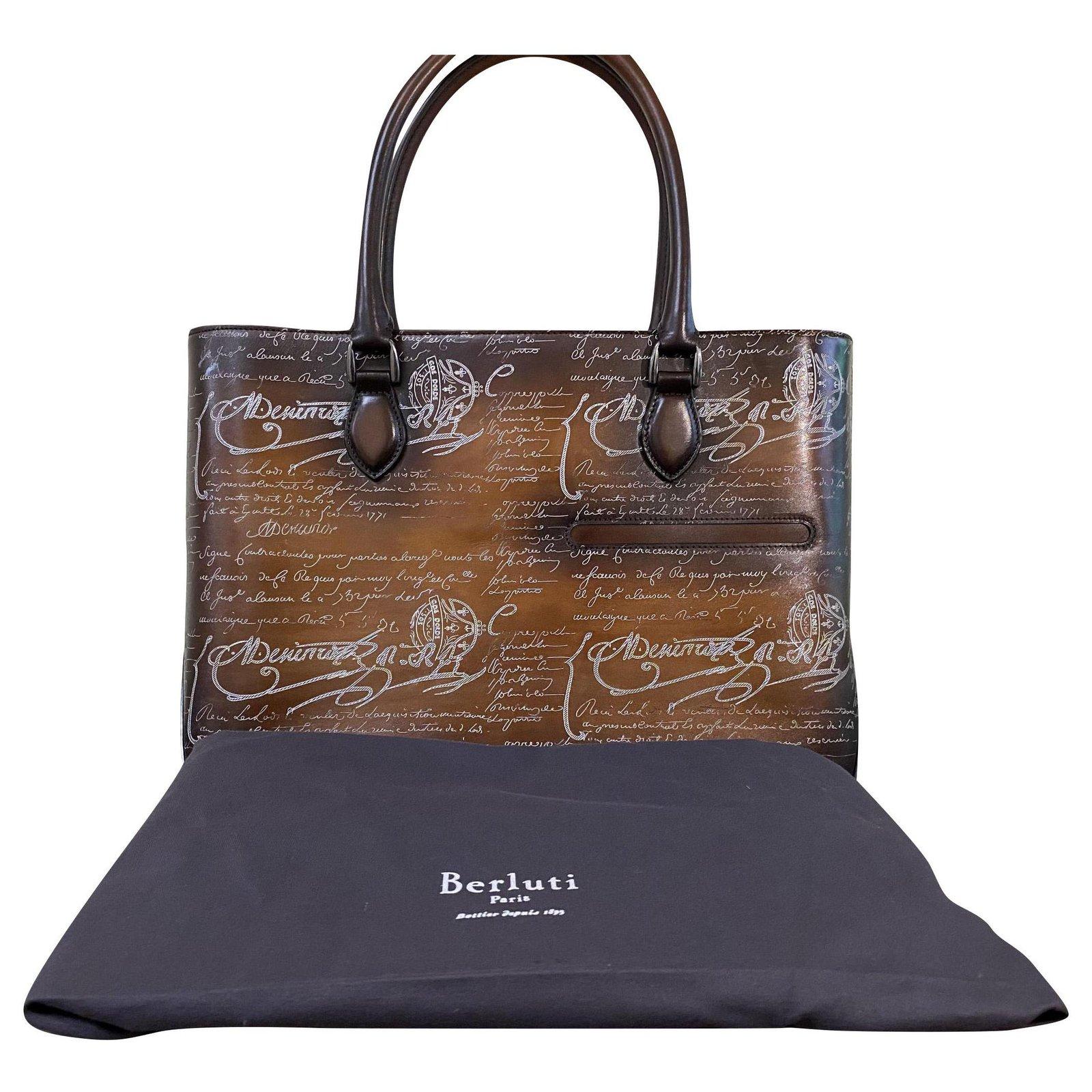Berluti Berluti TOUJOURS Calf leather Brown Tote Bag Bags Briefcases Leather Brown ref.175977 - Joli Closet