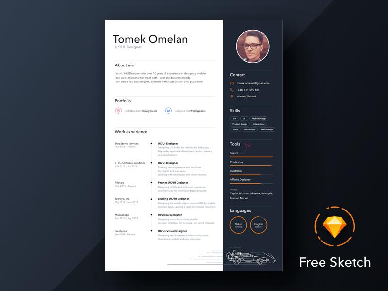 Sketch Personal Resume Design Just Free Slides