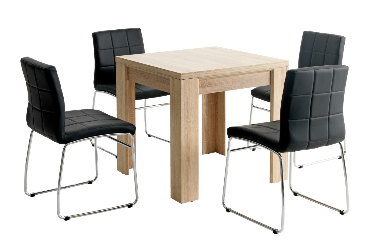 jysk dining room chair covers mima high australia hallund l80 160 oak 43 4 hammel black