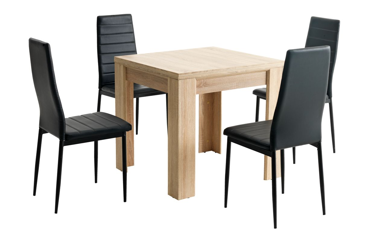 jysk dining room chair covers outdoor patio table and chairs with umbrella hallund l80 160 oak 43 4 toreby black