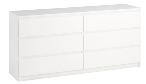 Kommode TRANBJERG 33 skuffer hvid  JYSK