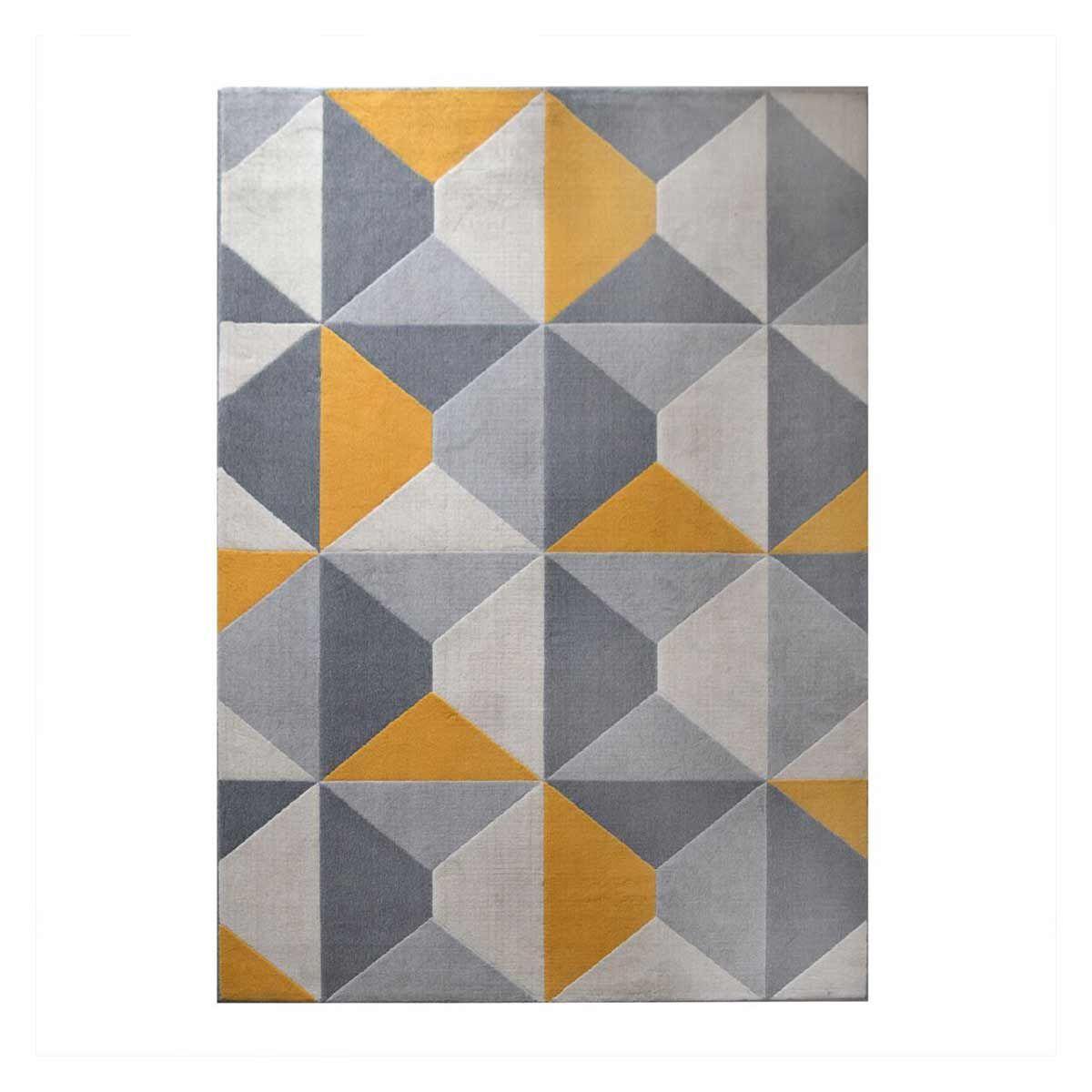 tapis moderne cubic jaune tibesti