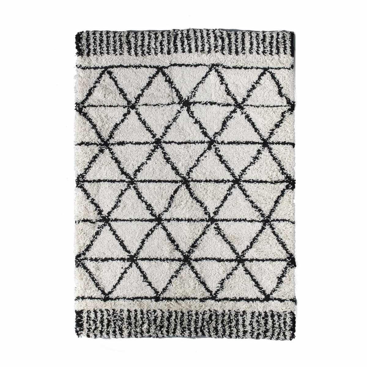 tapis berbere blanc et noir makalu 120x170 cm
