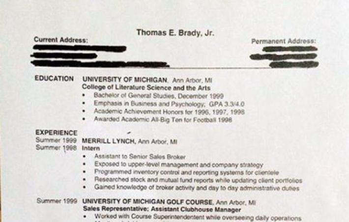 Tom Brady Made a Resume in 2000 In Case Football Didn't