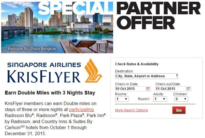 Club Carlson Singapore Airlines Double Krisflyer Miles