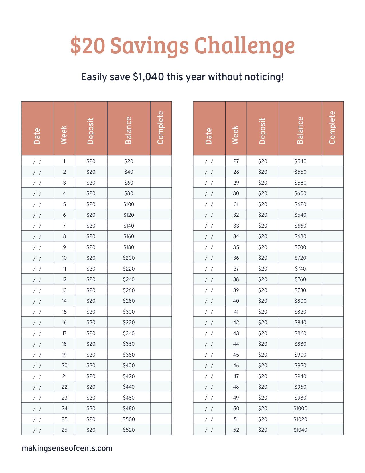 The 20 Savings Challenge