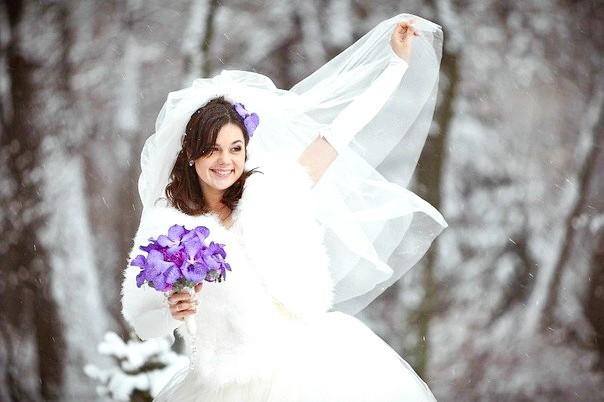 макияж и прическа невесты зимой