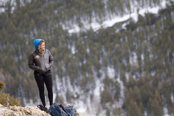 Climber posing on mountain