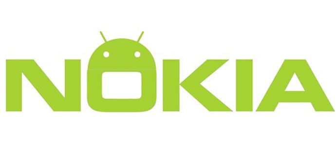 Nokia logo en verde y con robot android en la O