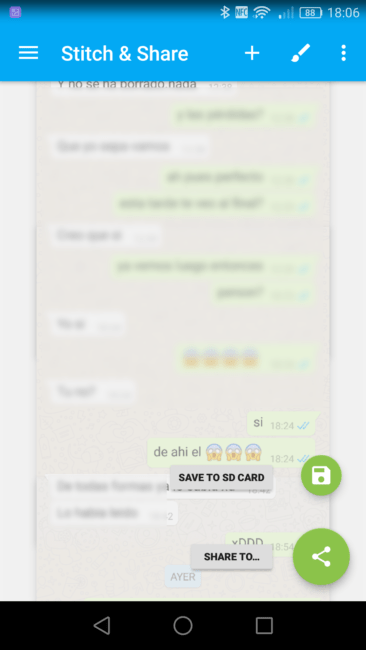 Guardar o compartir conversación de WhatsApp en una captura