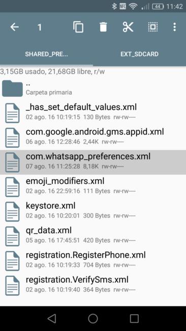 Editar preferencias WhatsApp