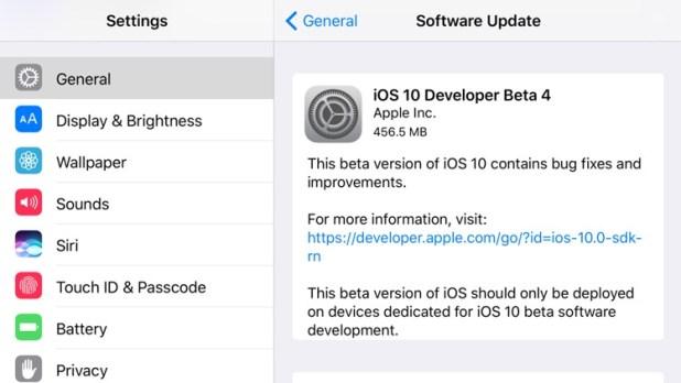 Actualización OTA con iOS 10 Beta 4