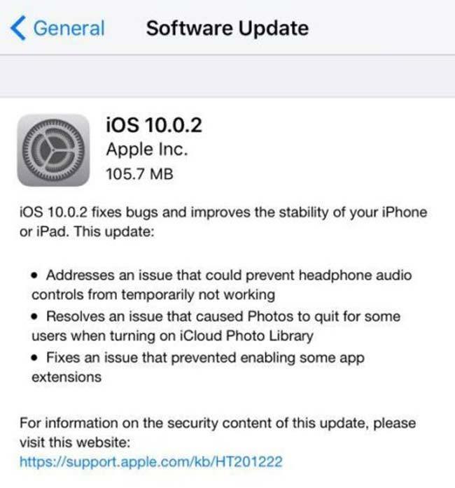 Actualización OTA con iOS 10.0.2