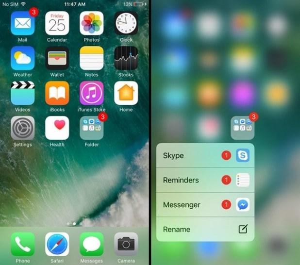 Gestión de las notificaciones en carpetas mediante pantalla con 3D Touch