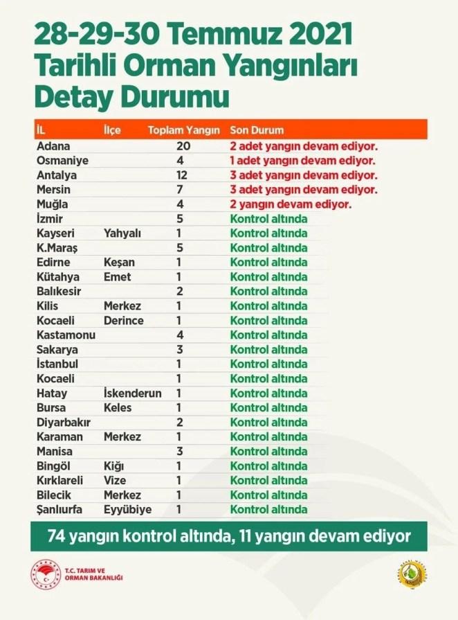 Antalya, Adana, Mersin, Muğla ve Osmaniye'de orman yangınları 14