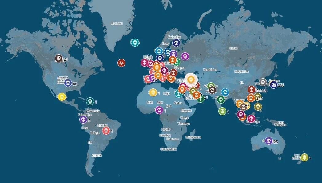 Corona virüsü hangi ülkeleri etkiliyor? (İnteraktif harita) | NTV