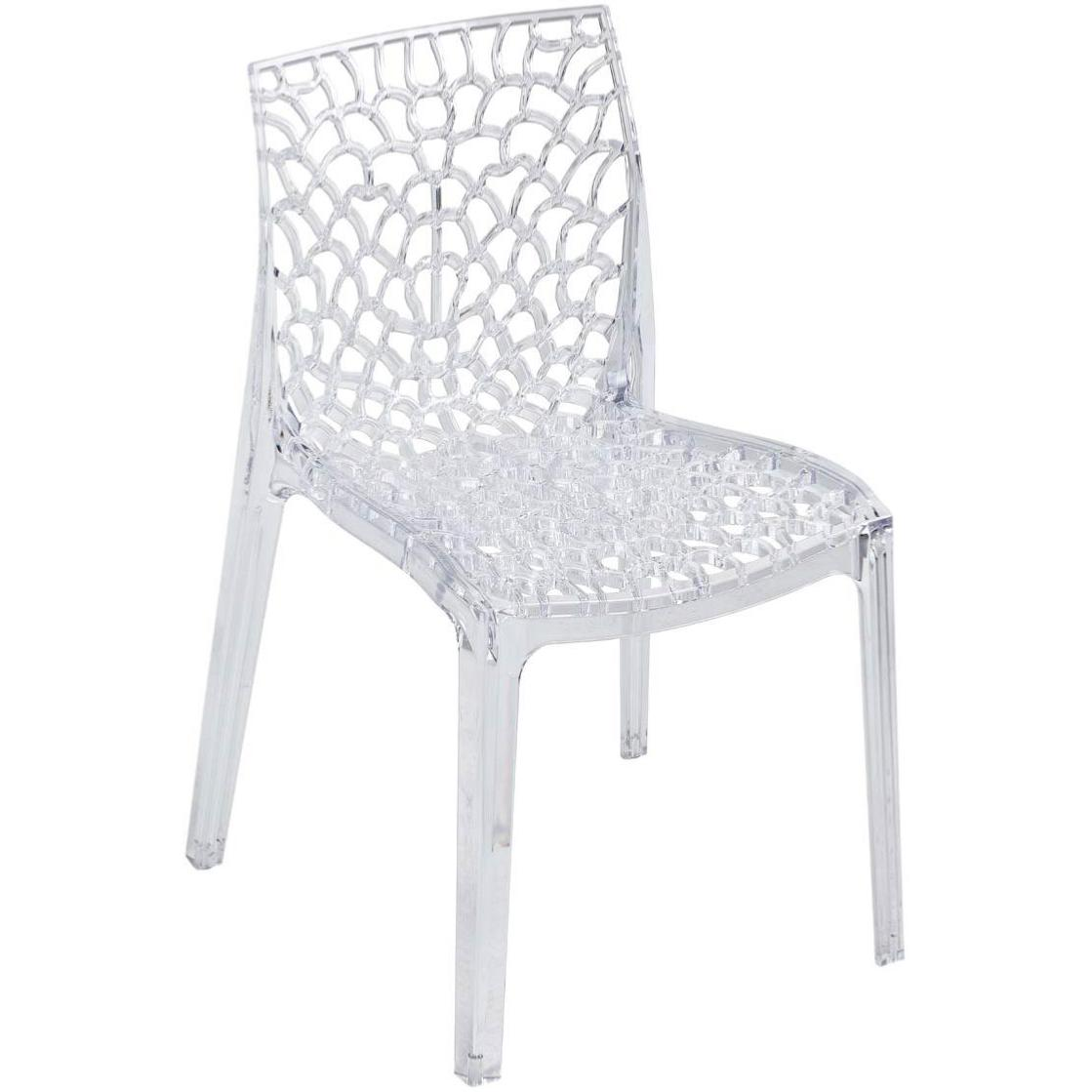 crocy chaise empilable en polycarbonate ajouree transparente
