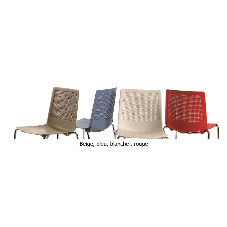 gualta 4 pieds chaise polypropylene empilable rouge