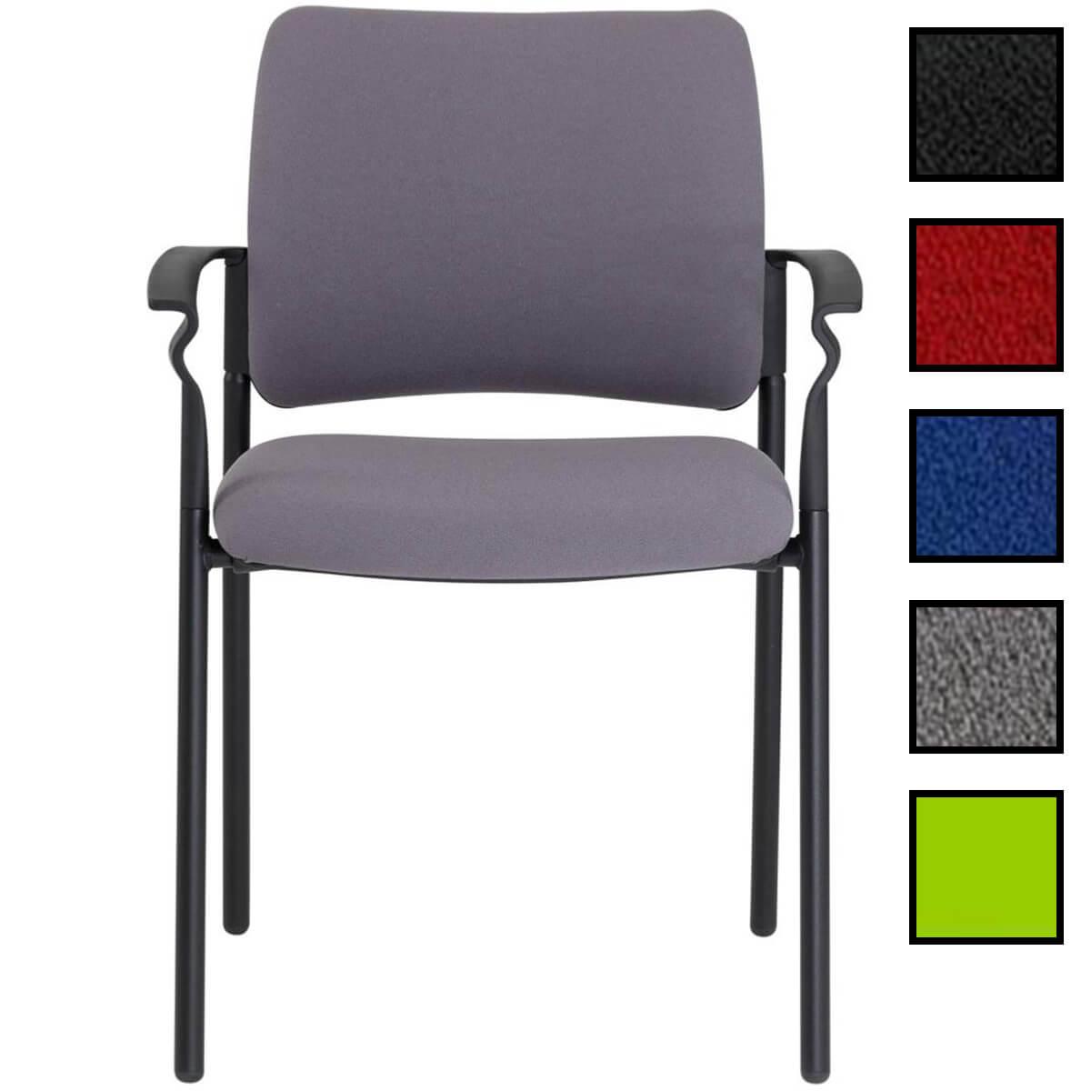 cenon chaise empilable en tissu avec accoudoirs noire