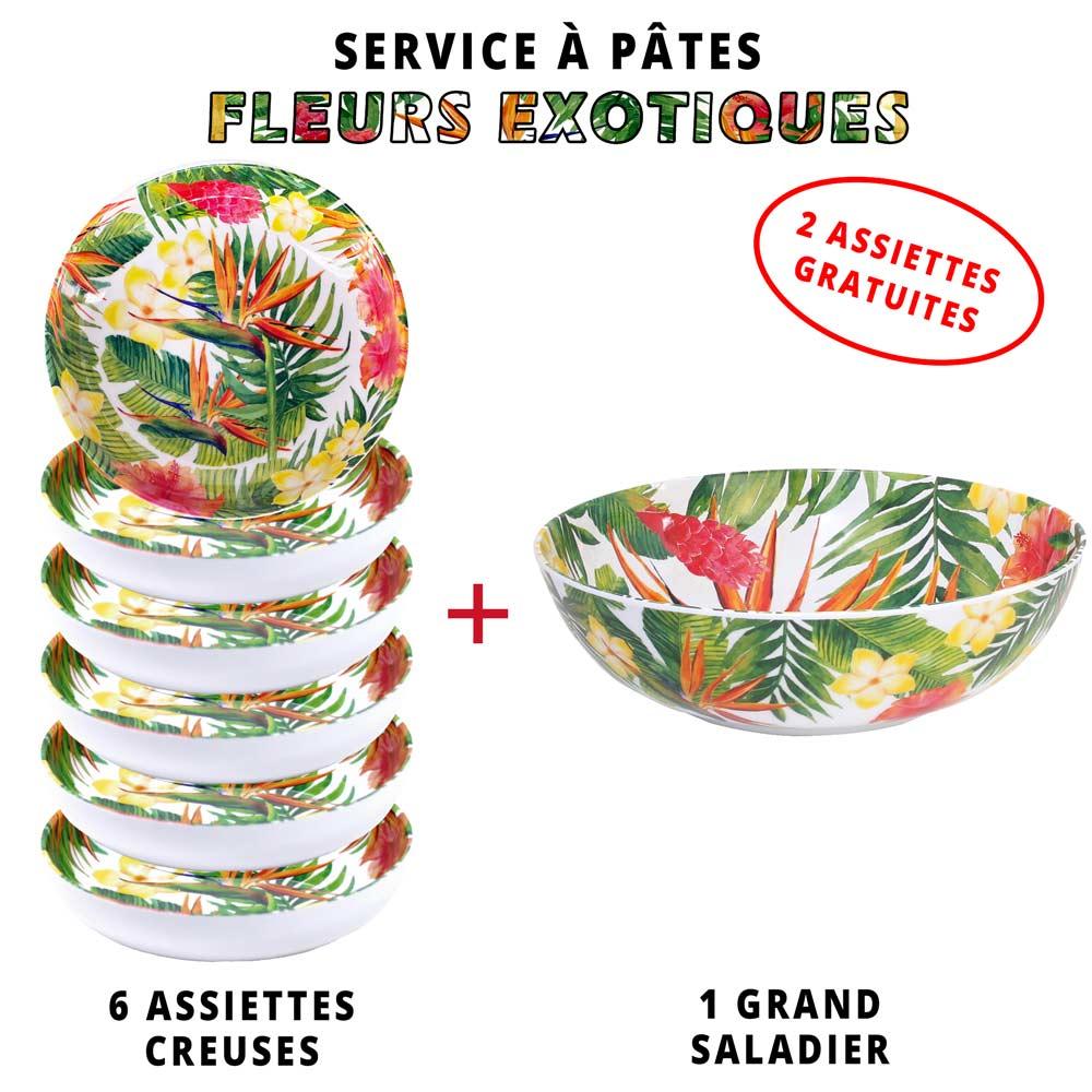 service a pates melamine 1 saladier 6 assiettes creuses dont 2 gratuites theme fleurs exotiques
