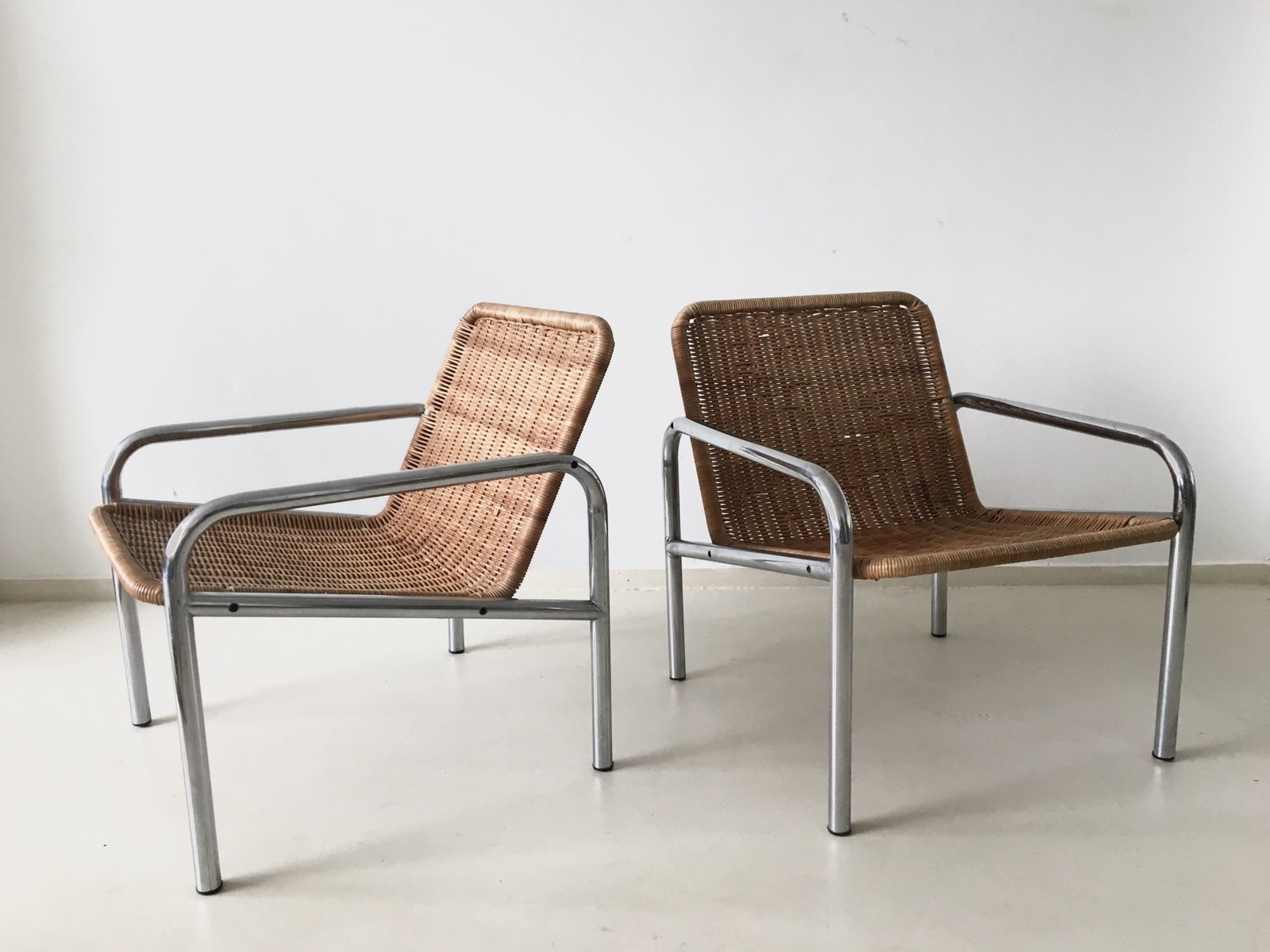 steel lounge chair blue dining room chairs vintage wicker and metal 1960s for sale at