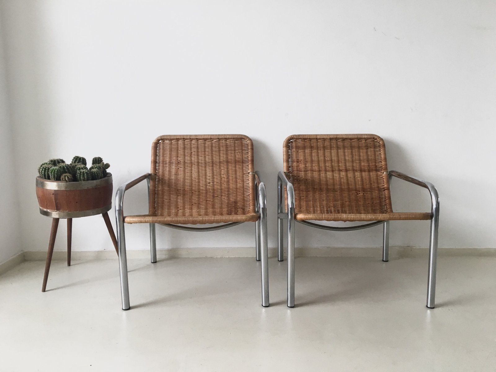steel lounge chair bjs folding chairs vintage wicker and metal 1960s for sale at