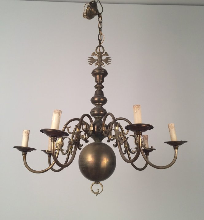 Vintage Bronze And Brass Chandelier 1940s