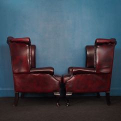 Oxblood Leather Wing Chair Lounge Legs Sydney British Vintage Wingback Chesterfield Armchairs In