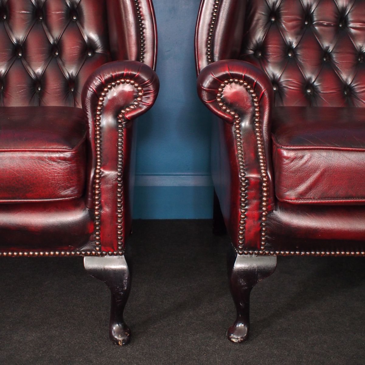 oxblood leather wing chair office under 2000 british vintage wingback chesterfield armchairs in