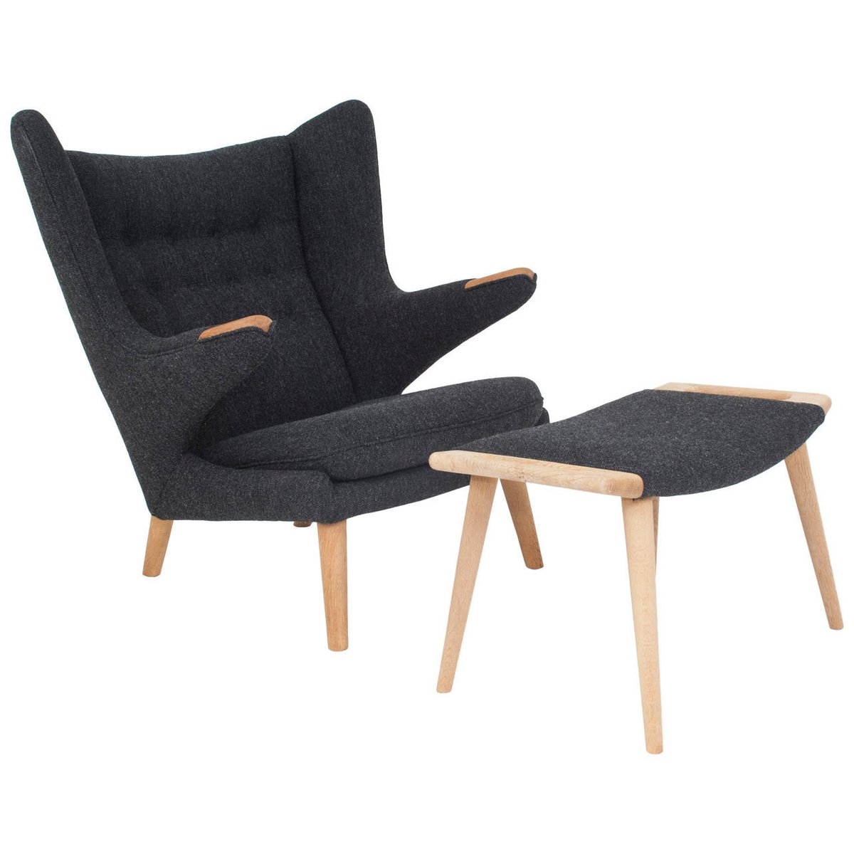 Danish Papa Bear Chair and Ottoman by Hans J Wegner for