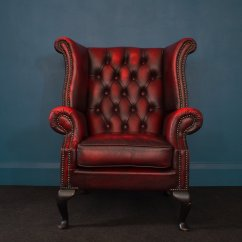 Oxblood Leather Wing Chair Wedding Cover Hire Wrexham British Wingback Chesterfield Armchair