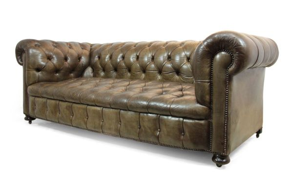 Leather Button Seat Chesterfield Sofa 1950s